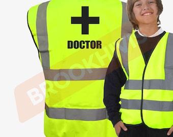 Kids Fun DOCTOR Hi Viz Vis Vest Childs Reflective Waistcoat Jacket Safety Fancy Dress Joke High Visibility
