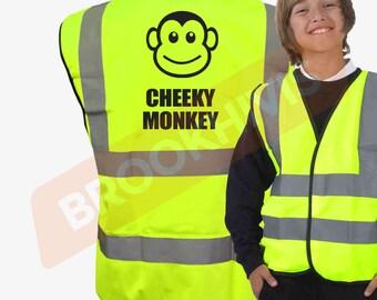 Kids Fun CHEEKY MONKEY Hi Viz Vis Vest Childs Reflective Waistcoat Jacket Safety Fancy Dress Joke High Visibility