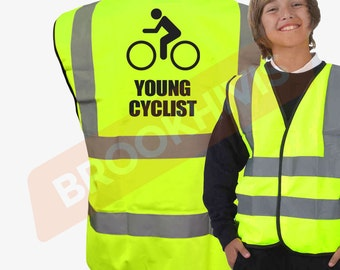 Kids Cycle YOUNG CYCLIST Hi Viz Vis Vest Childs Cycling Bike Reflective Waistcoat Jacket Road Safety Bicycle High Visibility