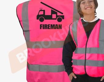 Kids Fun FIREMAN Hi Viz Vis Vest Childs Reflective Waistcoat Jacket Safety Fancy Dress Joke High Visibility