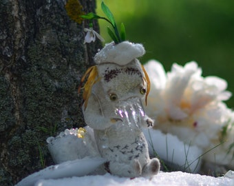 Drip-drop monster. OOAK dolls. Handcraft. Toys. Fantasy world. Cute monsters. Spring. Snow