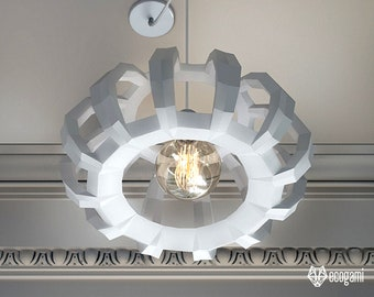 Round paper lamp shade, printable lampshade ECO, papercraft Pdf template to make your lighting decor