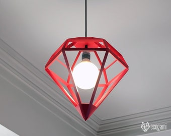 Paper lampshade DIAMOND, printable lamp shade, papercraft Pdf template to make your ceiling decor