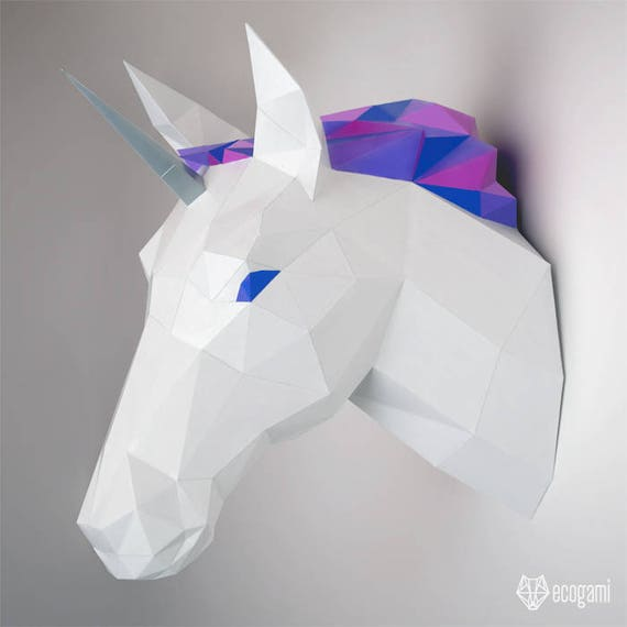 Cabeza de unicornio en papel DIY decoración de pared | Etsy