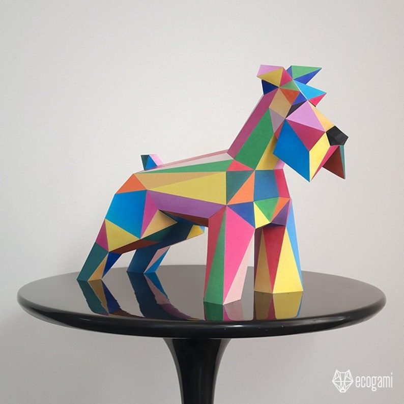 Diy Schnauzer Dog Papercraft Sculpture Perfect For Your Decor Etsy