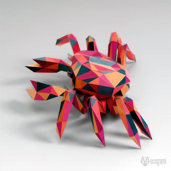 Haz tu propio cangrejo papercraft DIY escultura 3D de papel
