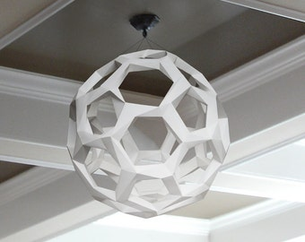 Sphere paper lamp shade, printable lampshade, papercraft Pdf template to make your art deco lamp