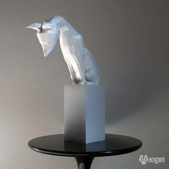 Statue Renard Noir Small Origami Present Time