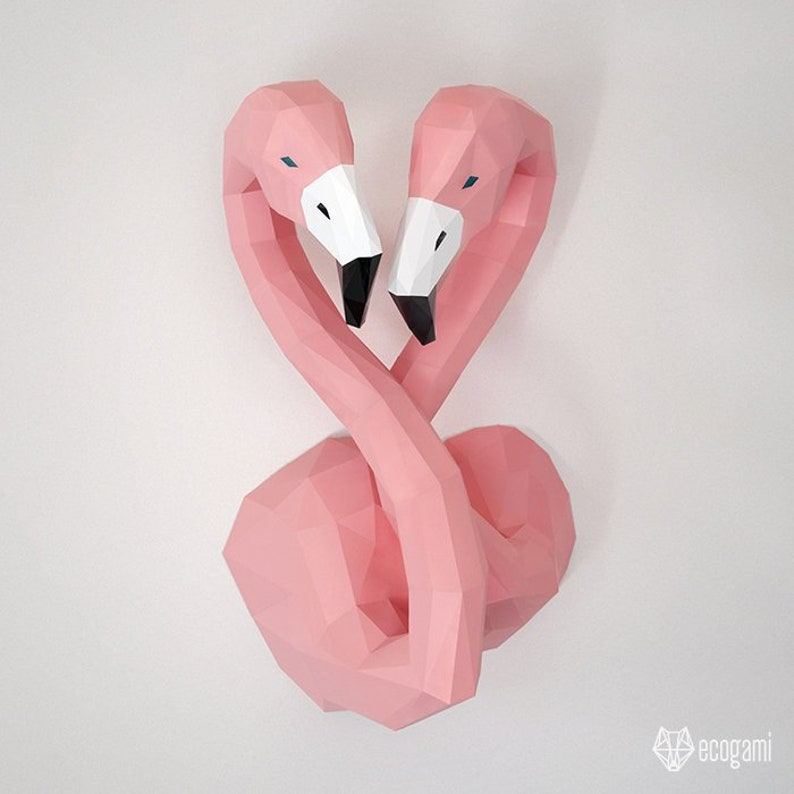 photo regarding Flamingo Printable named Printable flamingo papercraft trophy suitable for your wall decor