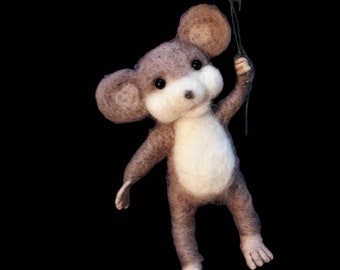 mouse with balloons needle felt magnet