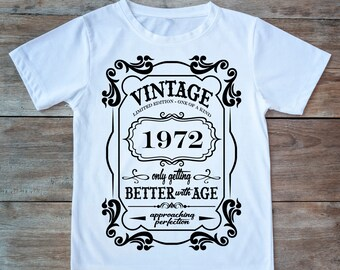 Made in 1972 T-Shirt Born 48th Year Birthday Age Present Vintage Funny Mens Gift