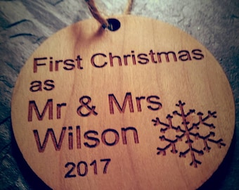 First Christmas as Mr & Mrs, Xmas decoration, personalised, newly weds