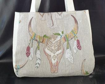 9ed9b17976 Grand sac cabas tissu tête de taureau fleuri et simili cuir blanc