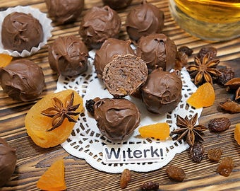 20 pcs Chocolate Truffles with Rum+Raisins+Dried Apricots+Milk Chocolate Ganash, 250 g. Free shipping. Artisan chocolate truffles. Handmade