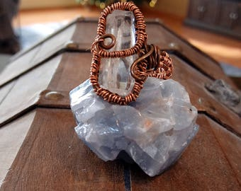 Clear Quartz Antiqued Copper Ring