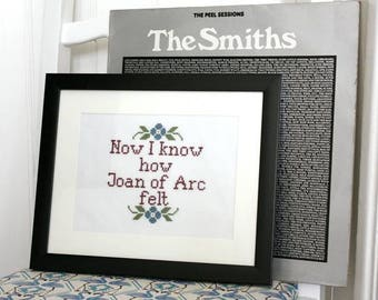 The Smiths Song Lyrics Wall Art Morrissey Modern Cross Stitch Picture Completed Cross Stitch Framed Art Indie Music Gift for husband