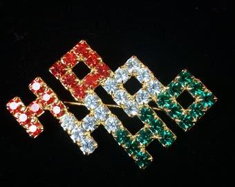 Ho Ho Ho - Red/Green/Clear Crystal Christmas Brooch