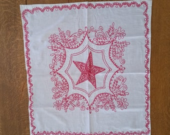 Vintage RED and WHITE WORK Table Scarf or Pillow Cover Star Pattern