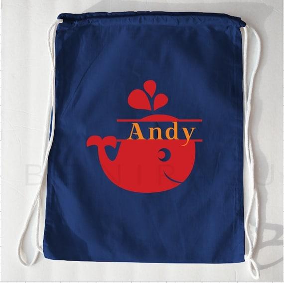 Whale Drawstring Bag Swim Bag Beach Gift Ideas Kids Beach Bag Whale Bag Whale Backpack Toddler Backpack Personalized Beach Bag