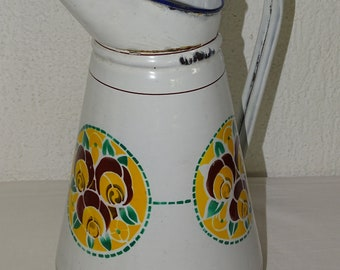 old enamelled jug pitcher french pitcher enamel pitcher collection vintage decor kitchen garden porch outside