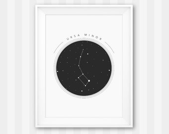 Ursa Minor / Constellation Print / Astronomy Print / Solar System Poster / Little Dipper / Ursa Minor Print / Constellation Wall Art