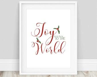 Christmas Printable - Joy to the World, Christmas Typography, Christmas Decor, Christmas Poster, Printable, Christmas Print, Seasonal Prints