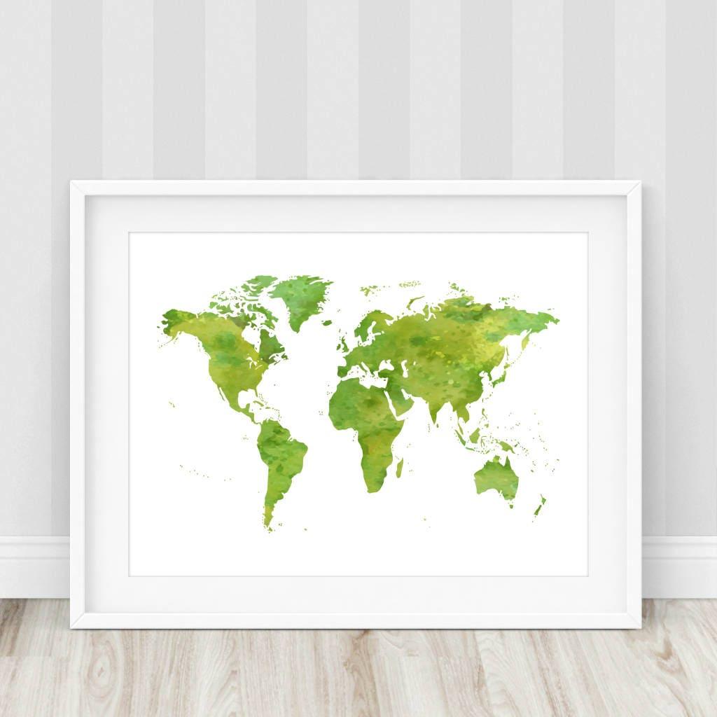 Grüne Weltkarte drucken Aquarell Weltkarte Weltkarte Poster