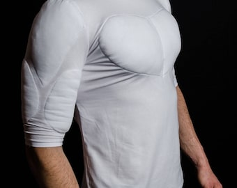 abb0859f White 1/2 Sleeve Padded Undershirt. T Shirt with muscles. Fake muscles T  shirt
