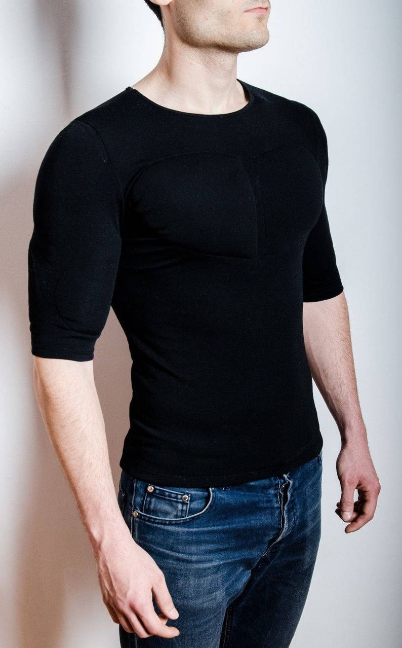 ecbddccd Black 1/2 Sleeve Padded Undershirt. T Shirt with muscles. Fake | Etsy