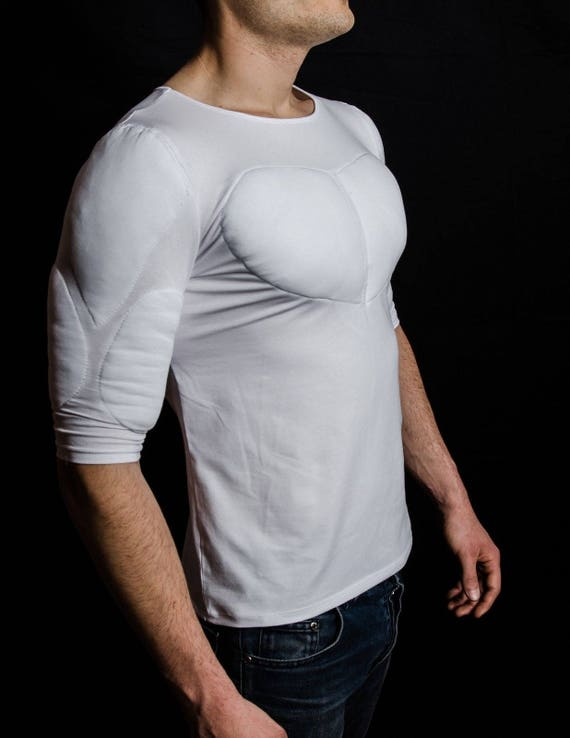 White 12 Sleeve Padded Undershirt. T Shirt with muscles. Fake muscles T shirt