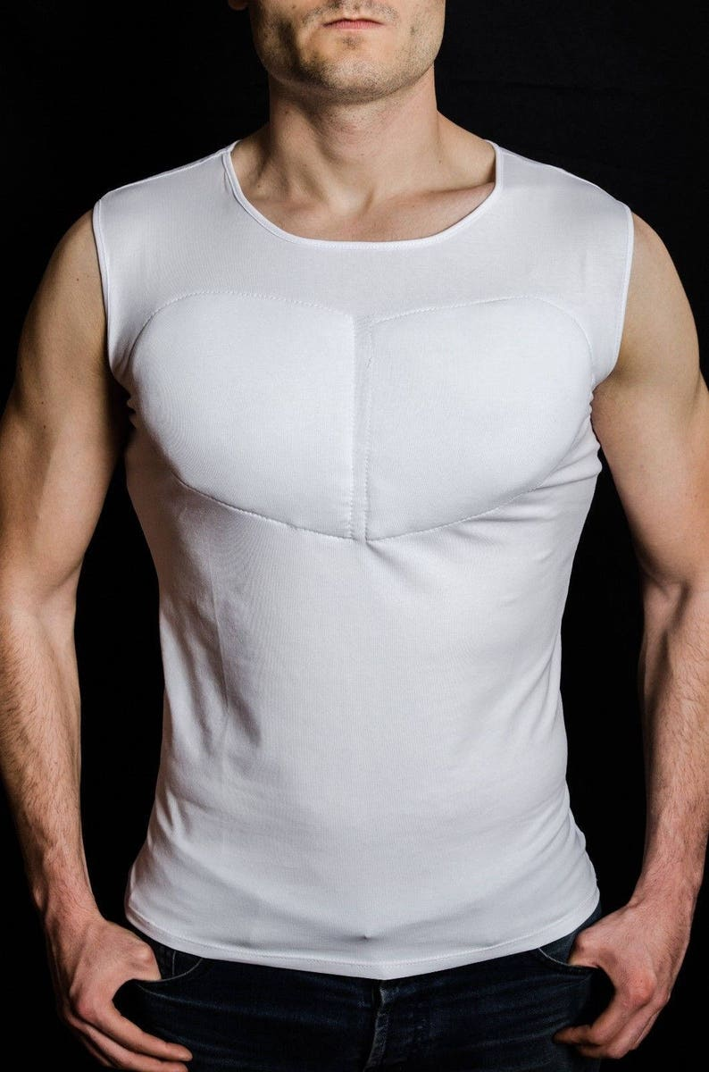 191527c2 White Sleeveless Padded Undershirt. T Shirt with muscles. Fake | Etsy