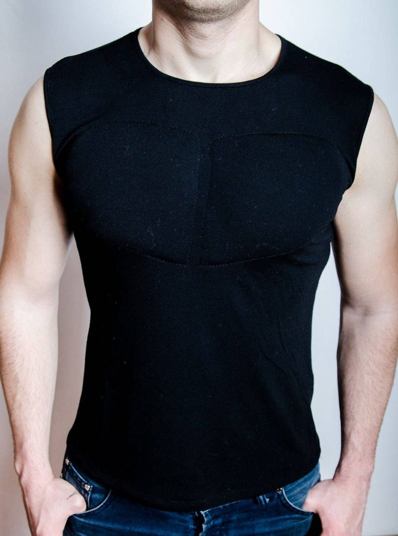 bb3262ab Black Sleeveless Padded Undershirt. T Shirt with muscles. Fake | Etsy