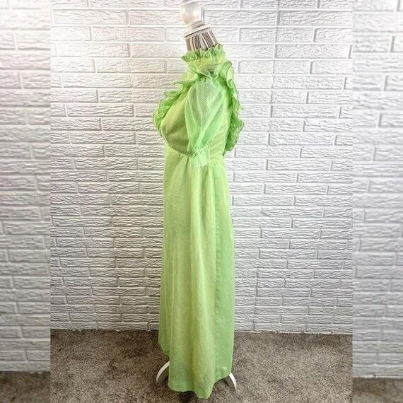 Vintage Green Polka Dot Ruffled Cottagecore Dress - image 3