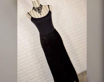 Vtg 90s Laura Ashley NWT Black Velvet Maxi Skirt