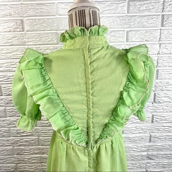 Vintage Green Polka Dot Ruffled Cottagecore Dress - image 9
