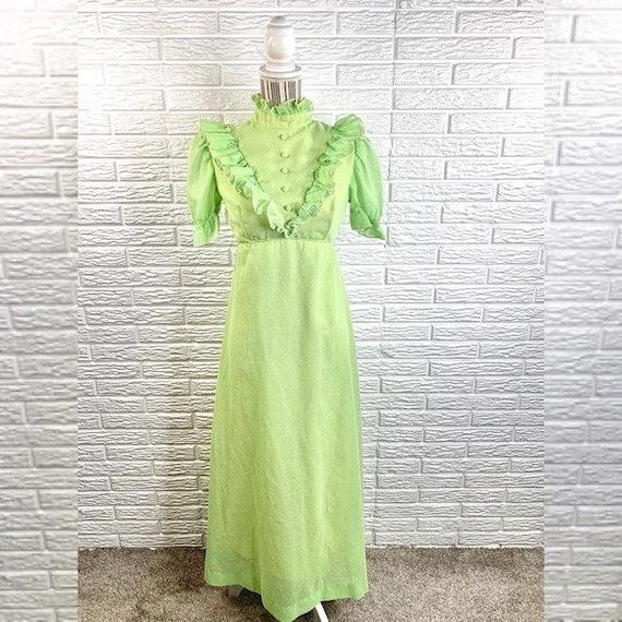 Vintage Green Polka Dot Ruffled Cottagecore Dress - image 1