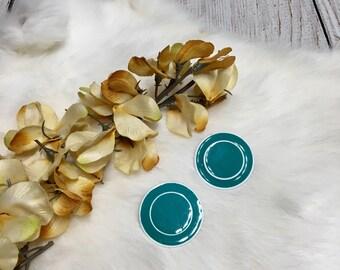 Vtg 80sTeal & White Circle Earrings