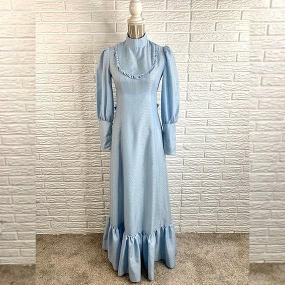Vintage Blue Patterned Cottagecore Maxi Dress