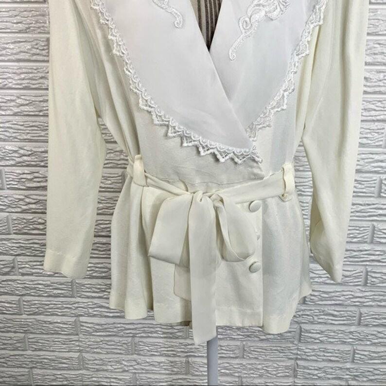 Vintage Studio I Cream /& White Wraparound Shirt