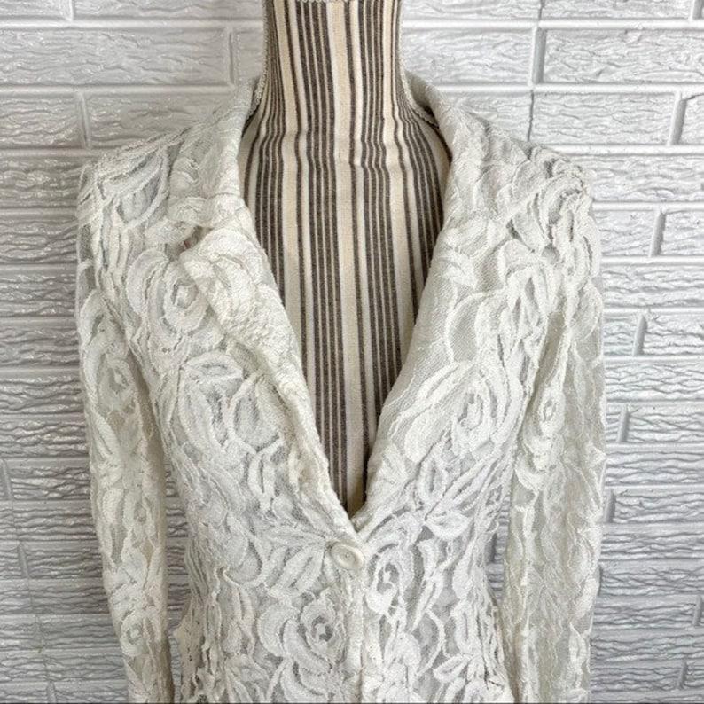 Vintage 90s Windsor Sheer White Lace Jacket