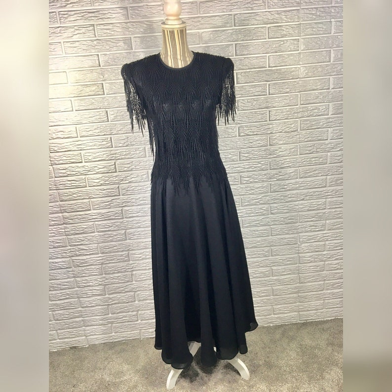 4cd47efb442 Vtg 80s Night Way Collections Black Flowy Dress w/Lace Tier | Etsy