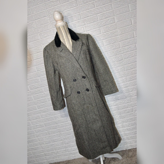 Vtg 70s Loring Black & Grey Herringbone Wool Coat
