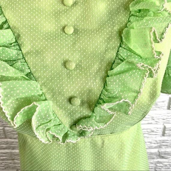 Vintage Green Polka Dot Ruffled Cottagecore Dress - image 8
