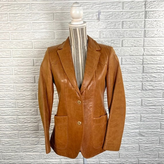Vintage Lady Scully Tan Western Leather Jacket