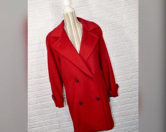 Vtg 80s John Weitz Red Wool Double Breasted Pea Coat