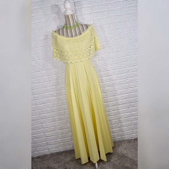 Vtg 70s Yellow Lace Tiered Disco Maxi Dress
