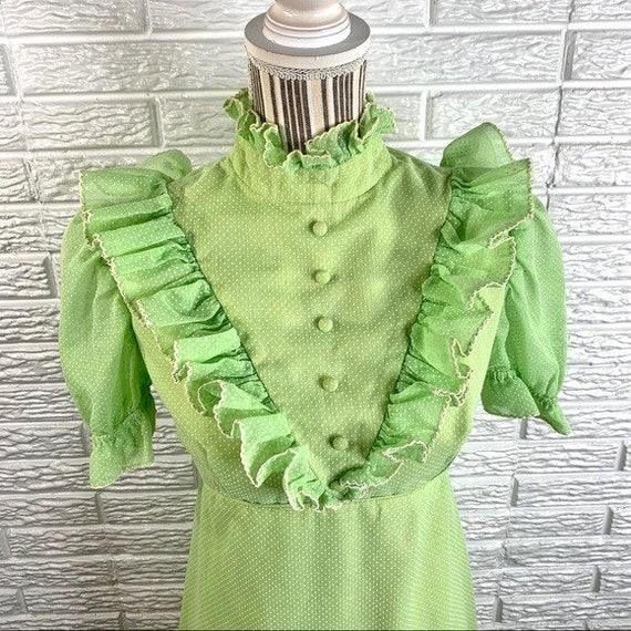 Vintage Green Polka Dot Ruffled Cottagecore Dress - image 4