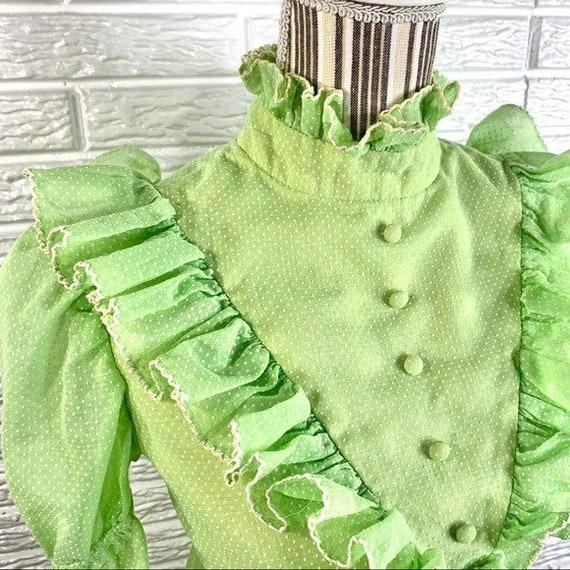 Vintage Green Polka Dot Ruffled Cottagecore Dress - image 6