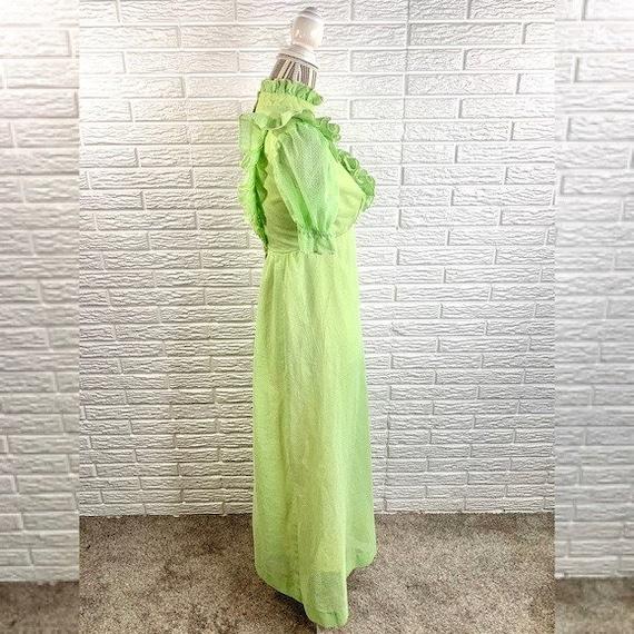 Vintage Green Polka Dot Ruffled Cottagecore Dress - image 2