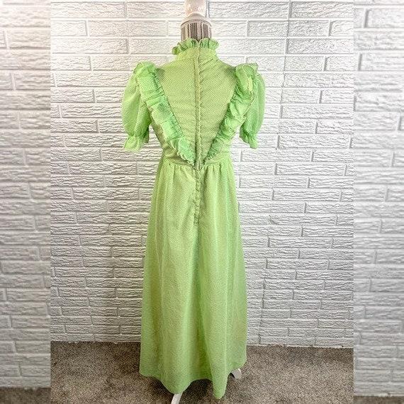 Vintage Green Polka Dot Ruffled Cottagecore Dress - image 5